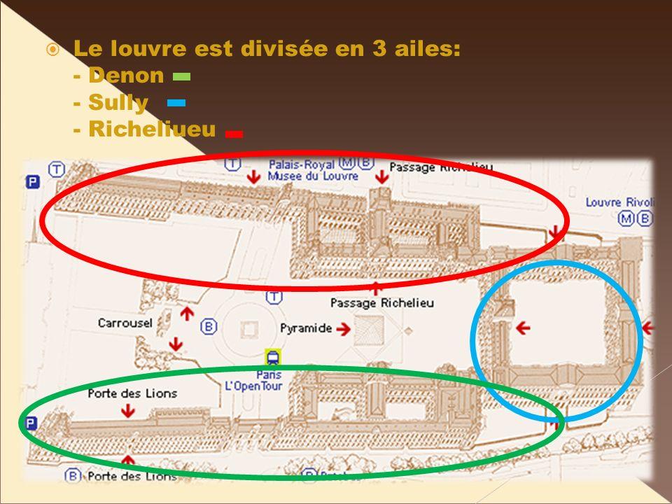 Le louvre est divisée en 3 ailes: - Denon - Sully - Richeliueu