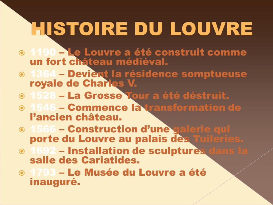 1190 – Le Louvre a été construit comme un fort château médiéval. 1364 – Devient la résidence somptueuse royale de Charles V. 1528 – La Grosse Tour a é