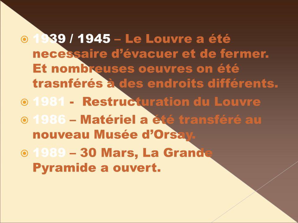1939 / 1945 – Le Louvre a été necessaire dévacuer et de fermer. Et nombreuses oeuvres on été trasnférés à des endroits différents. 1981 - Restructurat