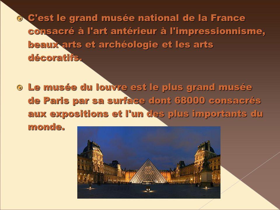 C est le grand musée national de la France consacré à l art antérieur à l impressionnisme, beaux arts et archéologie et les arts décoratifs.