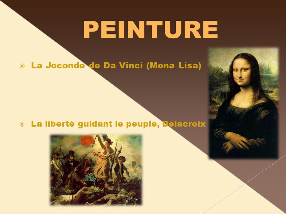 La Joconde de Da Vinci (Mona Lisa) La liberté guidant le peuple, Delacroix