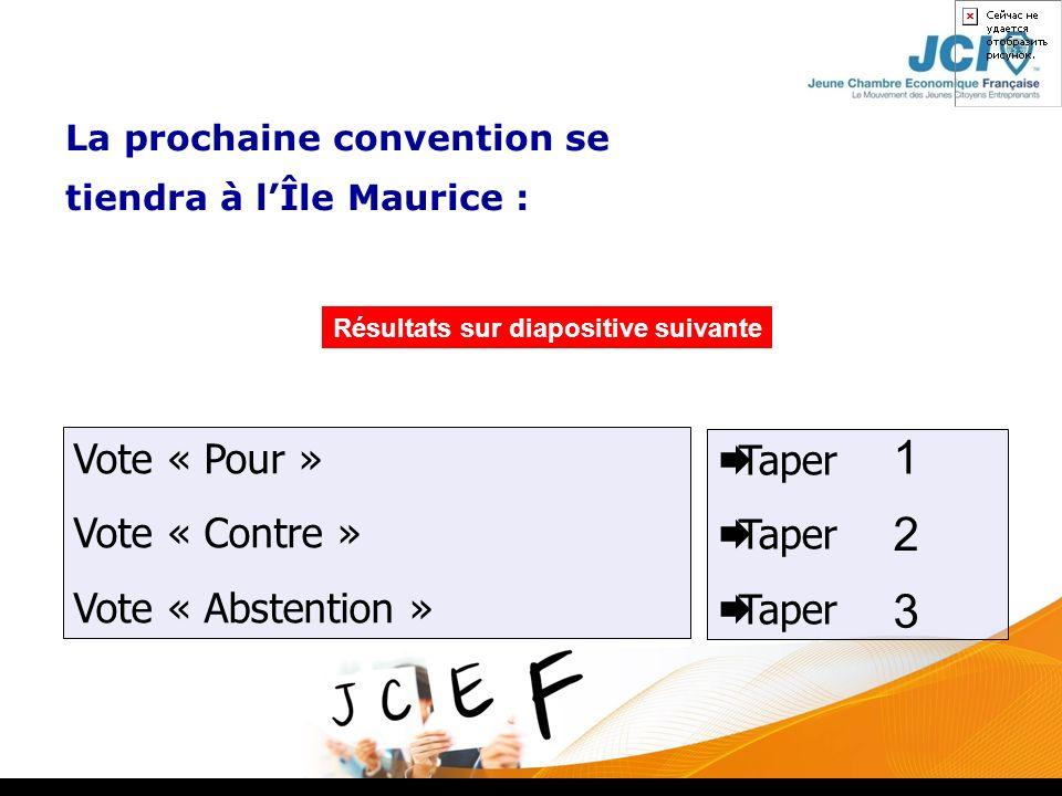 Résultats sur diapositive suivante Taper Vote « Pour » Vote « Contre » Vote « Abstention » La prochaine convention se tiendra à lÎle Maurice : 1 2 3