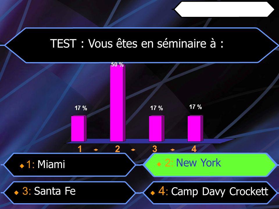 12341234 TEST : Vous êtes en séminaire à : 3: Santa Fe 4 : Camp Davy Crockett 2: New York 1: Miami 2: New York