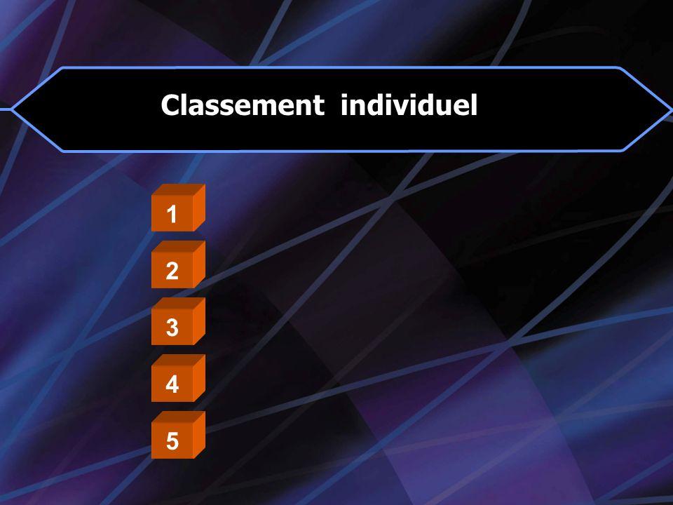 Classement individuel 1 2 3 4 5