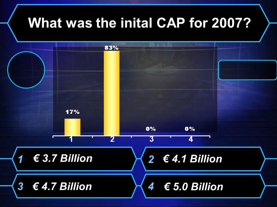 3.7 Billion What was the inital CAP for 2007? 4.1 Billion 4.7 Billion 5.0 Billion 12 34 1234 1234