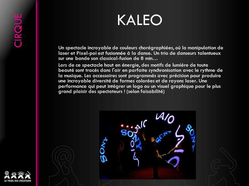 KALEO Un spectacle incroyable de couleurs chorégraphiées, où la manipulation de laser et Pixel-poi est fusionnée à la danse. Un trio de danseurs talen