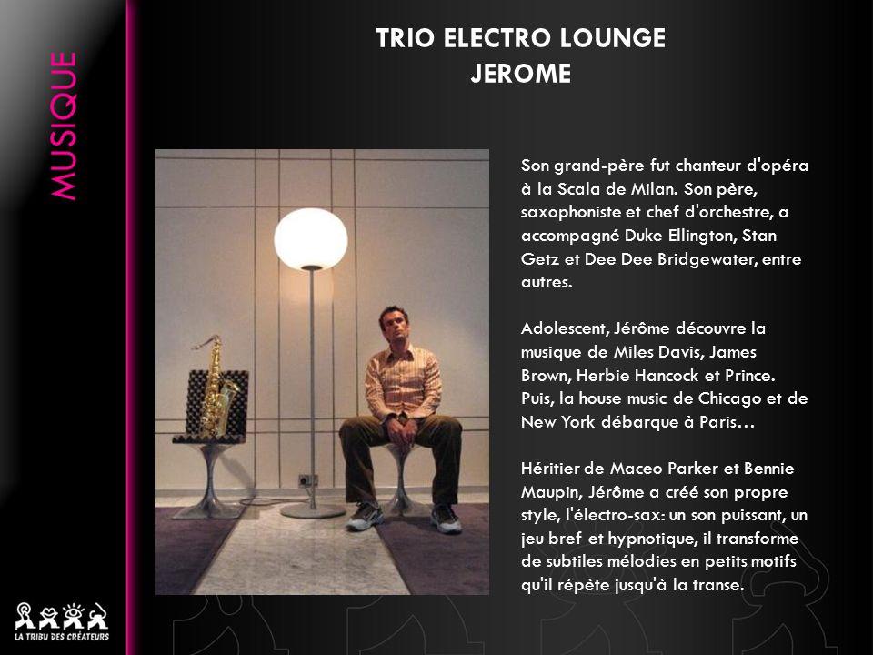 TRIO ELECTRO LOUNGE JOREN ce fan éperdu de toutes musiques électronique confondues depuis plus de 10 ans a été invité à mixer dans tous les bons clubs et soirées parisiennes (Maxims, Le Regine,Rex club, Djoon, Batofar, Bataclan, Le Queen, la Spray party, les soirées Electrochic, les D/branché, etc… ) avec quelques résidences à la clef, mais aussi dans les clubs dEurope (Culture club, Egg, etc) Artiste polyvalent, il sest vu confié à maintes reprises lillustration sonore dévénements prestigieux, notamment pour Hermès, Lanvin, Sonia Rykiel, etc….