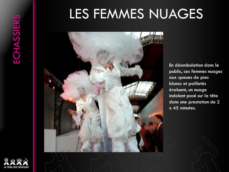 LES FEMMES NUAGES En déambulation dans le public, ces femmes nuages aux queues de pies blancs et pailletés évoluent, un nuage indolent posé sur la têt