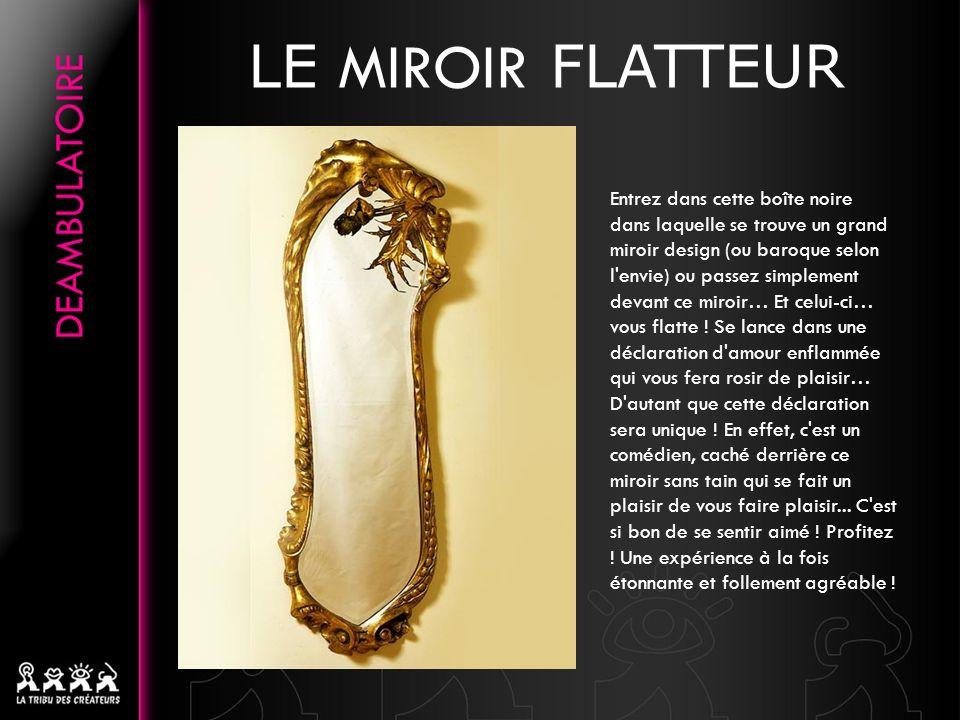 LE MIROIR FLATTEUR Entrez dans cette boîte noire dans laquelle se trouve un grand miroir design (ou baroque selon l envie) ou passez simplement devant ce miroir… Et celui-ci… vous flatte .