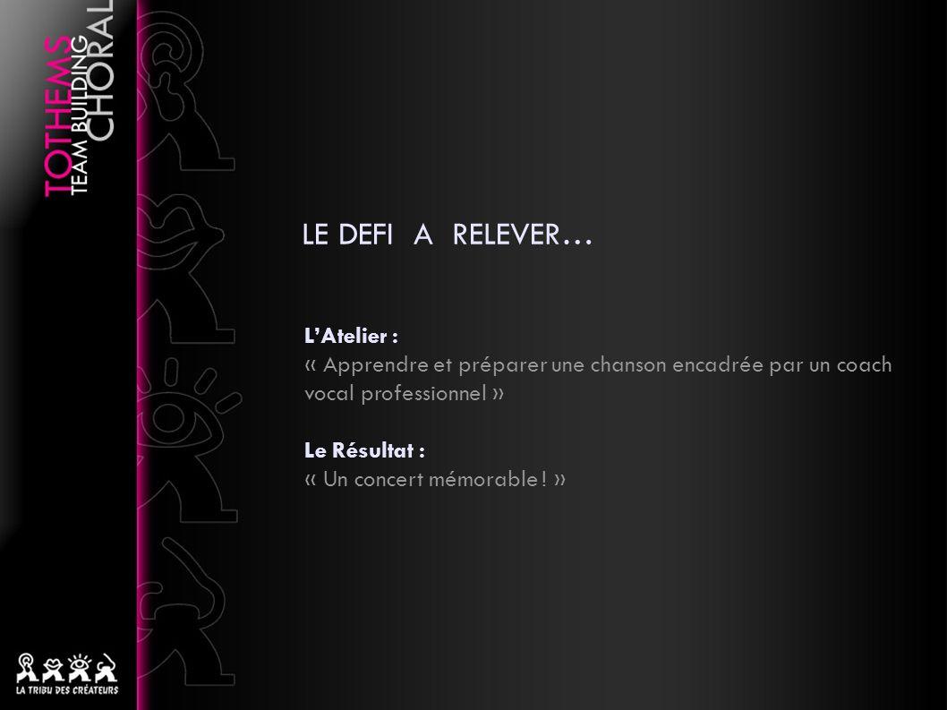 LE DEFI A RELEVER… LAtelier : « Apprendre et préparer une chanson encadrée par un coach vocal professionnel » Le Résultat : « Un concert mémorable .