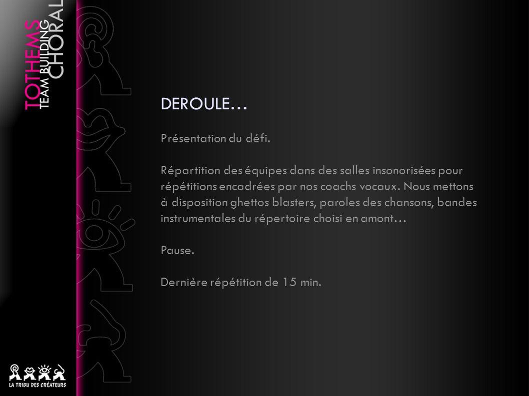 DEROULE… Présentation du défi.