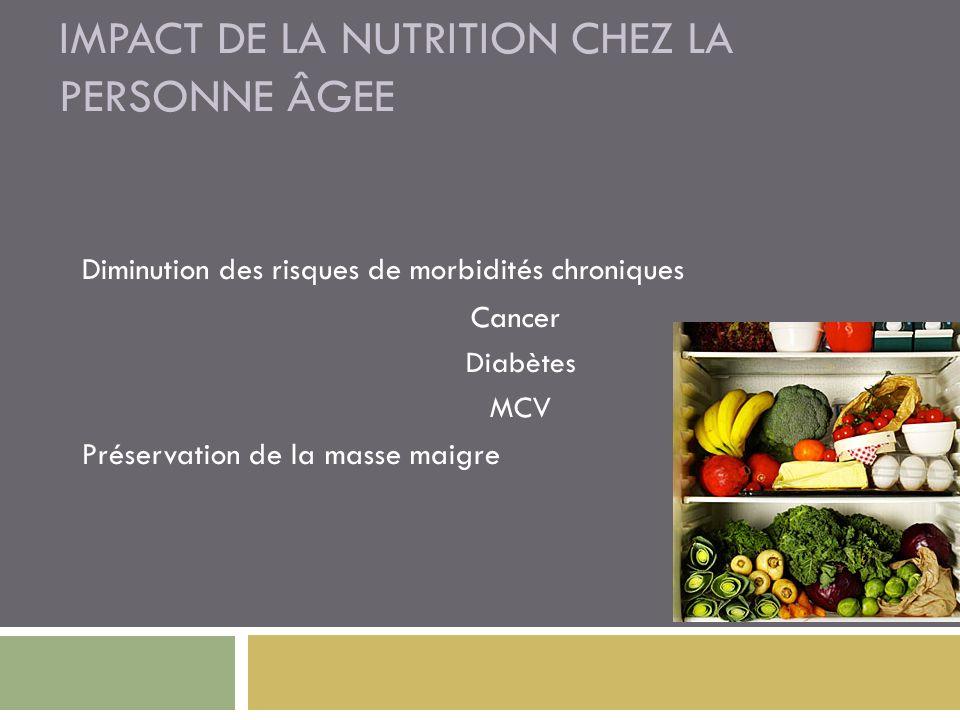 IMPACT DE LA NUTRITION CHEZ LA PERSONNE ÂGEE Diminution des risques de morbidités chroniques Cancer Diabètes MCV Préservation de la masse maigre