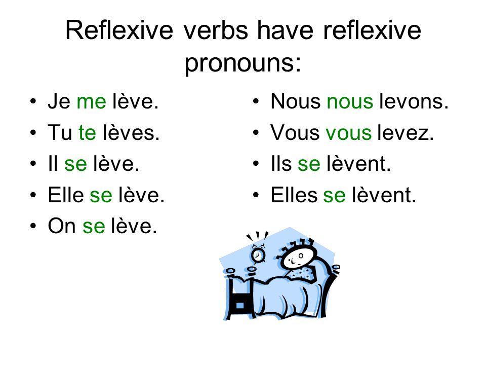 Reflexive verbs have reflexive pronouns: Je me lève.
