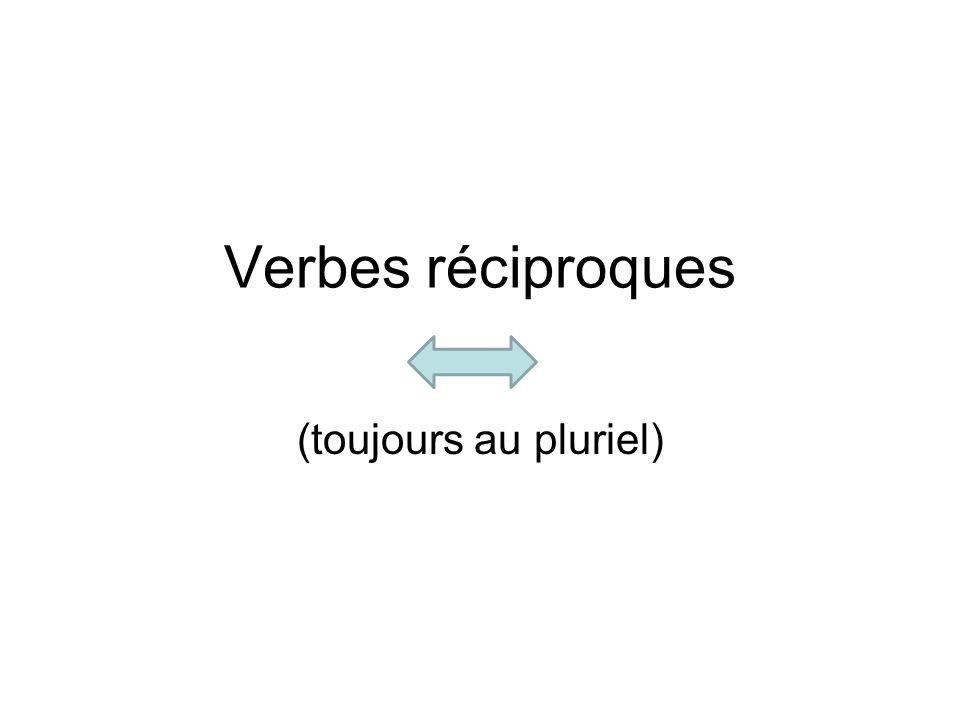 Verbes réciproques (toujours au pluriel)