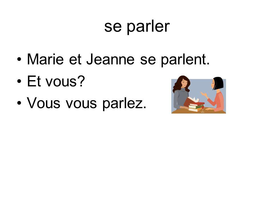 se parler Marie et Jeanne se parlent. Et vous Vous vous parlez.