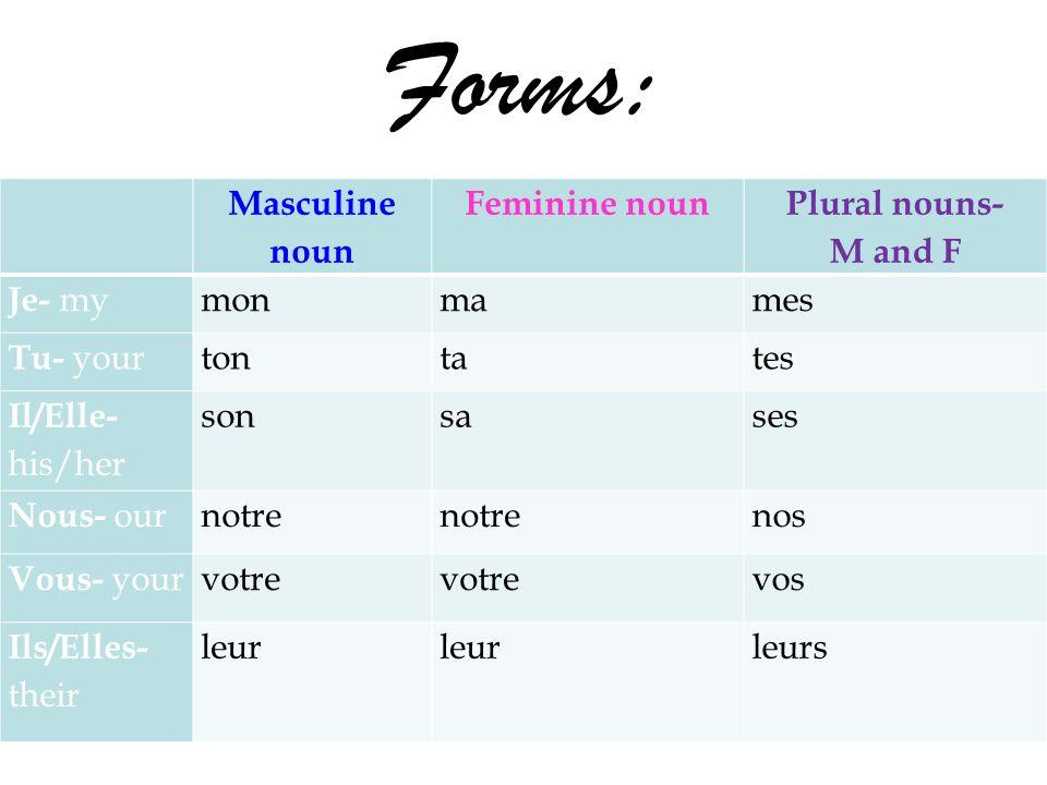 Forms: Masculine noun Feminine noun Plural nouns- M and F Je- my monmames Tu- your tontates Il/Elle- his/her sonsases Nous- our notre nos Vous- your votre vos Ils/Elles- their leur leurs