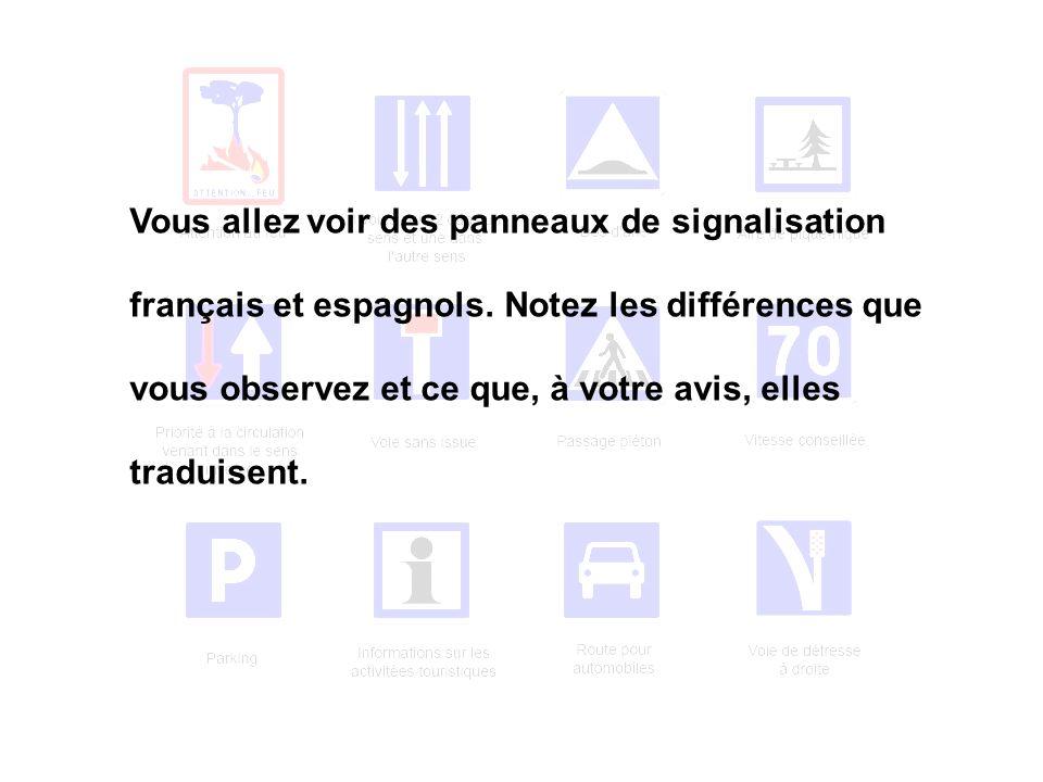 Vous allez voir des panneaux de signalisation français et espagnols. Notez les différences que vous observez et ce que, à votre avis, elles traduisent