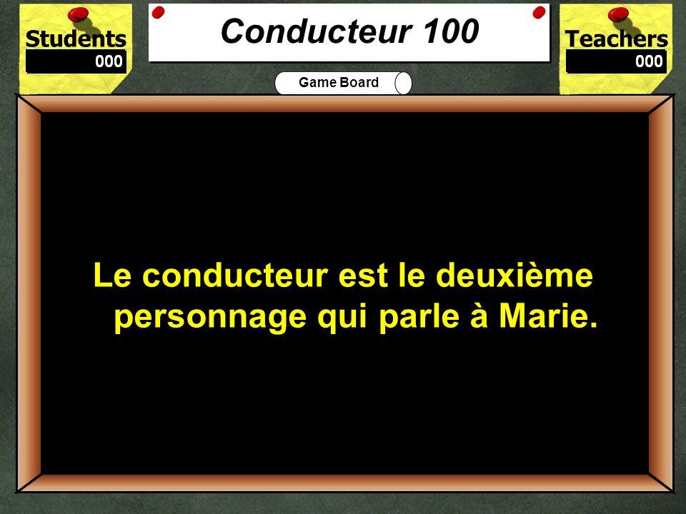 StudentsTeachers Game Board Quest-ce que Marie dit à la policière après quelle dit: Je suis désolée, Marie, mais lauto ne marche pas.? 500 Marie dit: