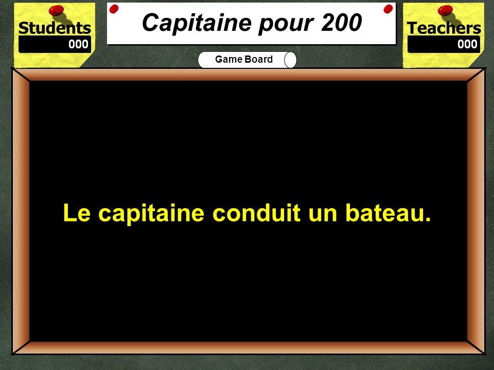 StudentsTeachers Game Board Après le conducteur, quel personnage est-ce que Marie voit? 100 Marie voit un capitaine. Capitaine pour 100