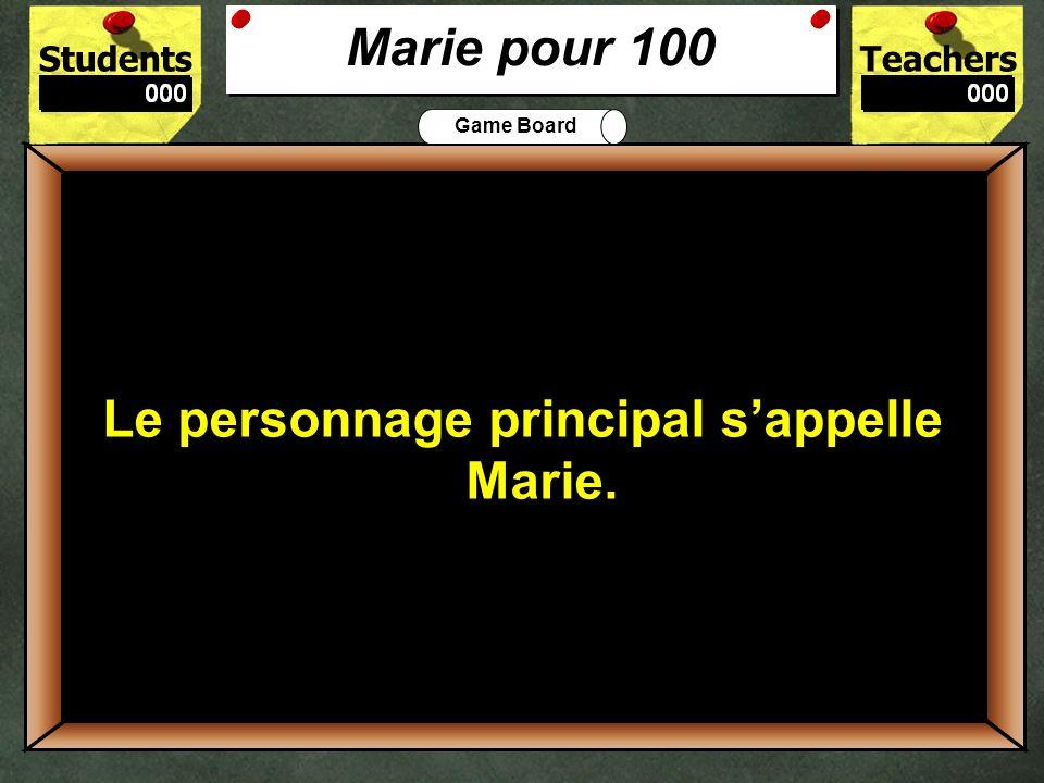 StudentsTeachers Game Board Qui est le deuxième personnage qui parle à Marie.