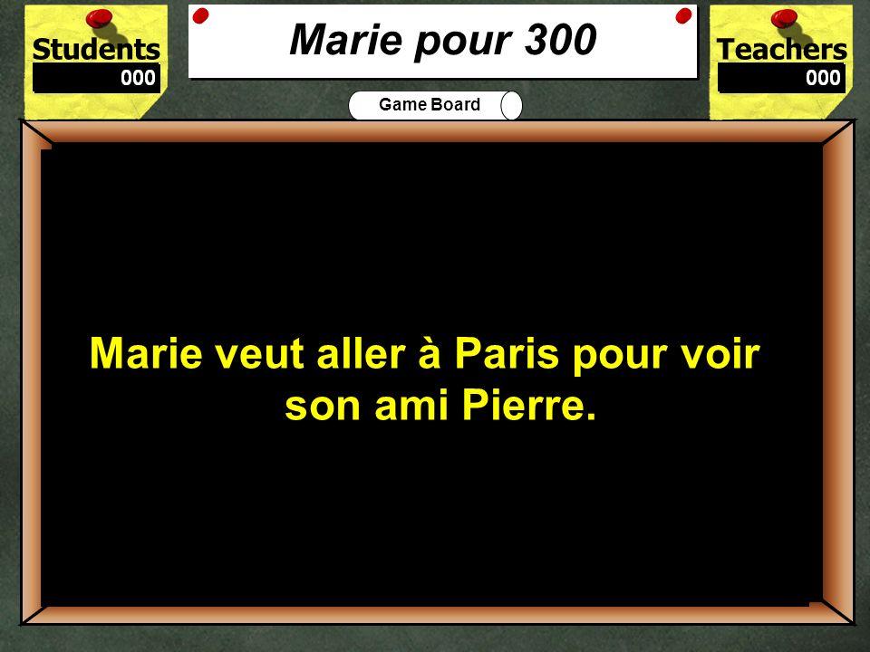 StudentsTeachers Game Board O ù habite Marie? 200 Marie habite à Québec. Marie pour 200