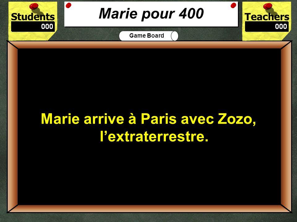 StudentsTeachers Game Board Pourquoi est-ce que Marie veut aller à Paris? 300 Marie veut aller à Paris pour voir son ami Pierre. Marie pour 300