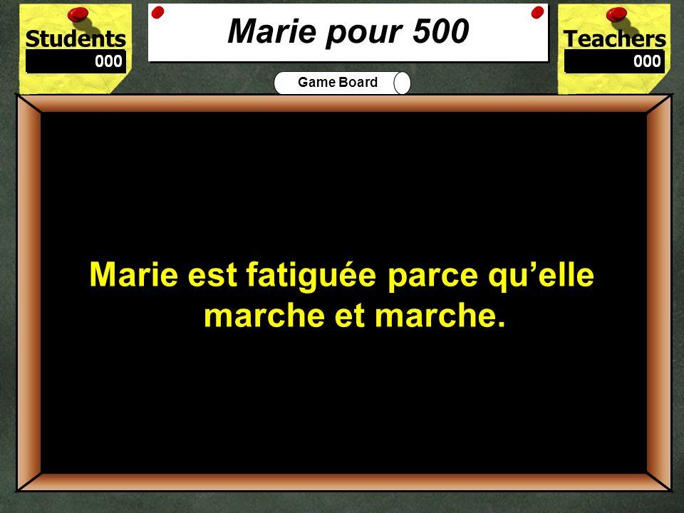 StudentsTeachers Game Board Avec qui est-ce que Marie arrive à Paris? 400 Marie arrive à Paris avec Zozo, lextraterrestre. Marie pour 400