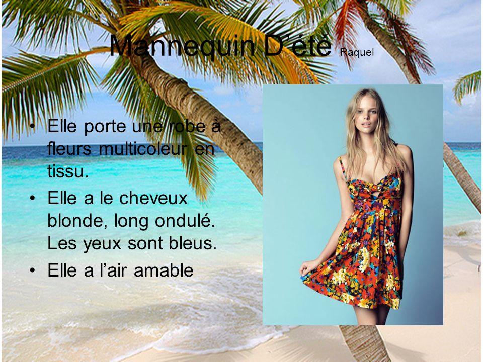 Mannequin Dété Raquel Elle porte une robe à fleurs multicoleur en tissu. Elle a le cheveux blonde, long ondulé. Les yeux sont bleus. Elle a lair amabl