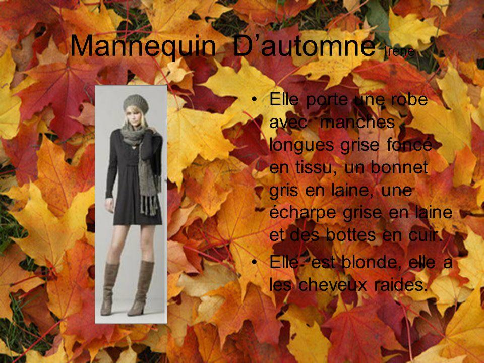 Mannequin Dautomne Irene Elle porte une robe avec manches longues grise foncé en tissu, un bonnet gris en laine, une écharpe grise en laine et des bot