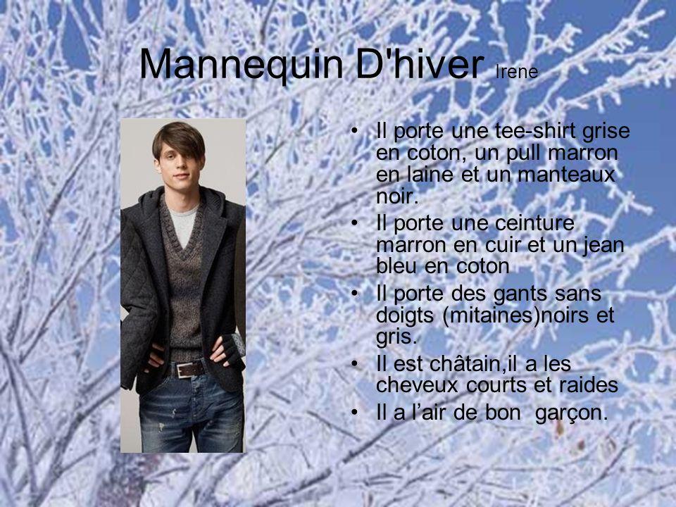 Mannequin D'hiver Irene Il porte une tee-shirt grise en coton, un pull marron en laine et un manteaux noir. Il porte une ceinture marron en cuir et un