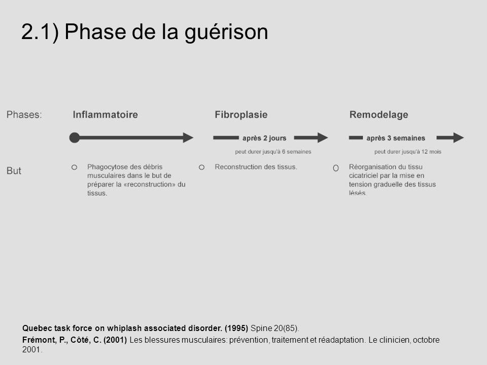 Quebec task force on whiplash associated disorder. (1995) Spine 20(85). Frémont, P., Côté, C. (2001) Les blessures musculaires: prévention, traitement