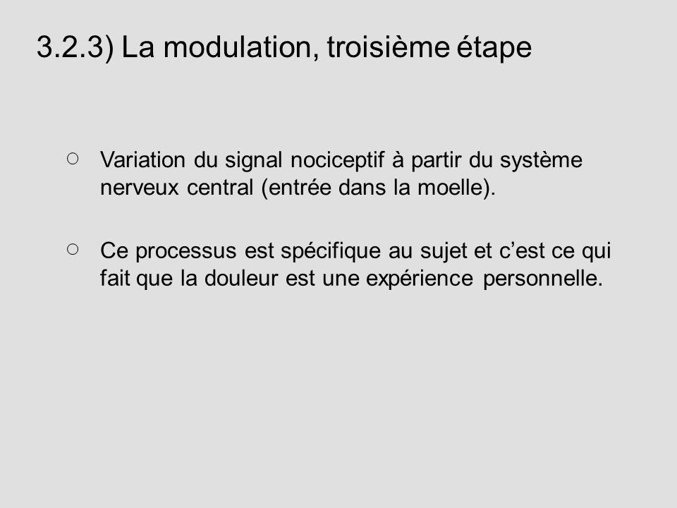 3.2.3) La modulation, troisième étape Variation du signal nociceptif à partir du système nerveux central (entrée dans la moelle). Ce processus est spé