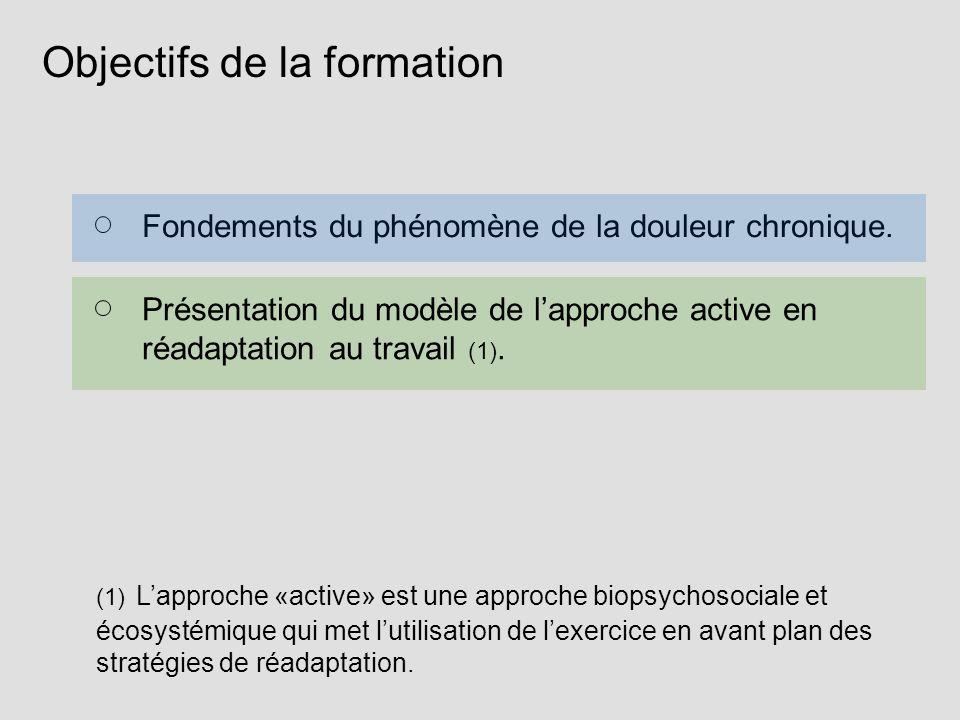 Objectifs de la formation Fondements du phénomène de la douleur chronique. Présentation du modèle de lapproche active en réadaptation au travail (1).