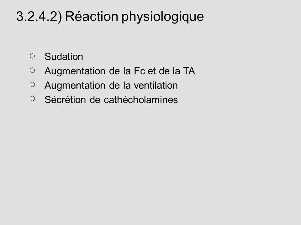 3.2.4.2) Réaction physiologique Sudation Augmentation de la Fc et de la TA Augmentation de la ventilation Sécrétion de cathécholamines