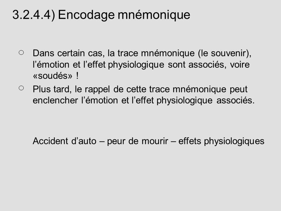Dans certain cas, la trace mnémonique (le souvenir), lémotion et leffet physiologique sont associés, voire «soudés» ! Plus tard, le rappel de cette tr