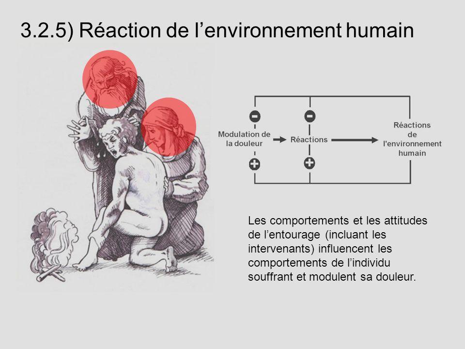 Les comportements et les attitudes de lentourage (incluant les intervenants) influencent les comportements de lindividu souffrant et modulent sa doule