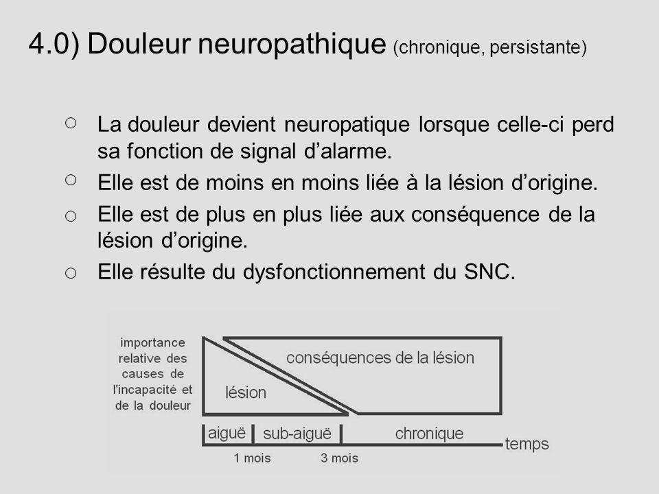 4.0) Douleur neuropathique (chronique, persistante) La douleur devient neuropatique lorsque celle-ci perd sa fonction de signal dalarme. Elle est de m
