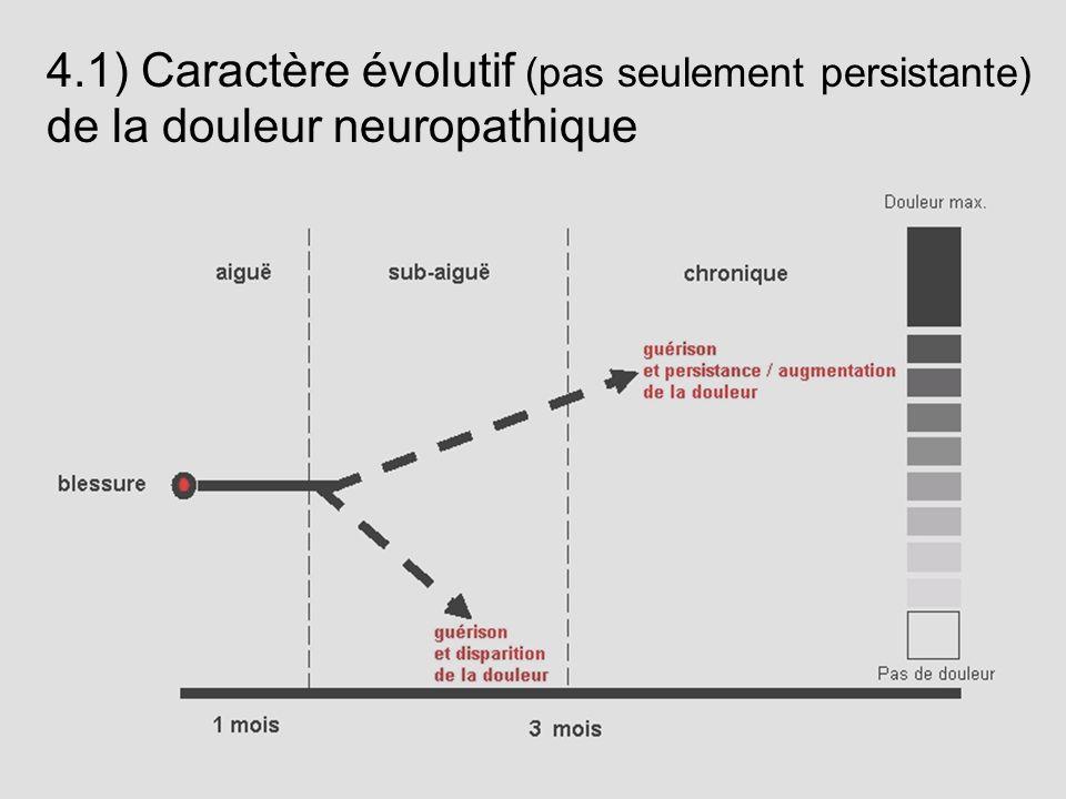 4.1) Caractère évolutif (pas seulement persistante) de la douleur neuropathique