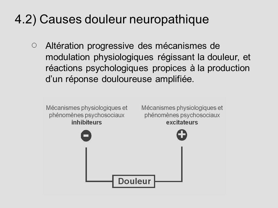 4.2) Causes douleur neuropathique Altération progressive des mécanismes de modulation physiologiques régissant la douleur, et réactions psychologiques