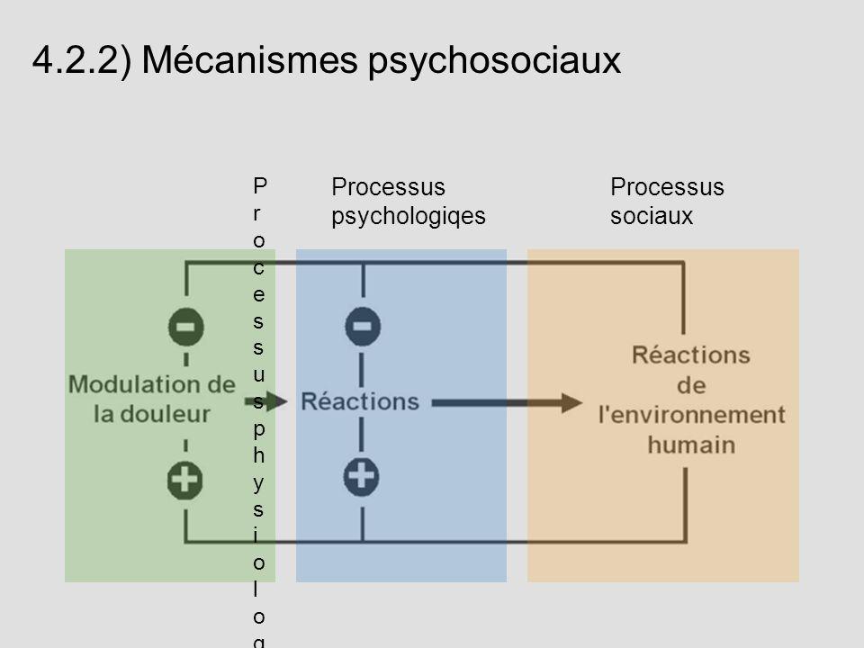 4.2.2) Mécanismes psychosociaux Processus psychologiqes Processus sociaux ProcessusphysiologiquesProcessusphysiologiques