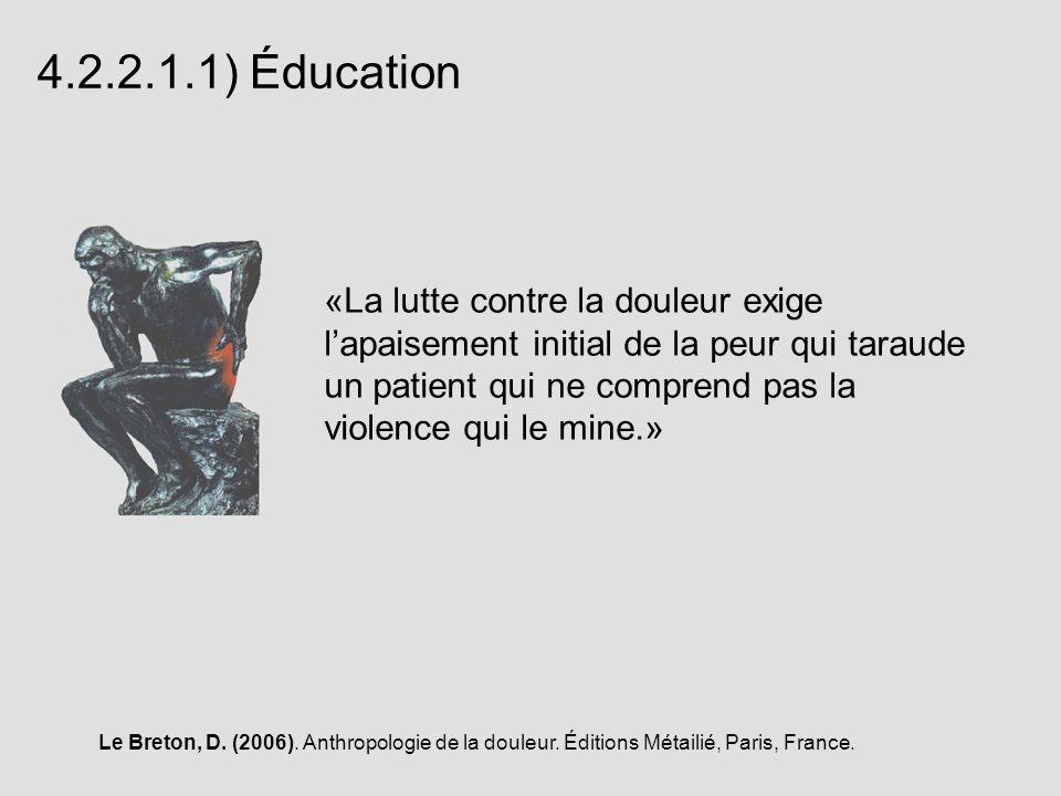 4.2.2.1.1) Éducation «La lutte contre la douleur exige lapaisement initial de la peur qui taraude un patient qui ne comprend pas la violence qui le mi