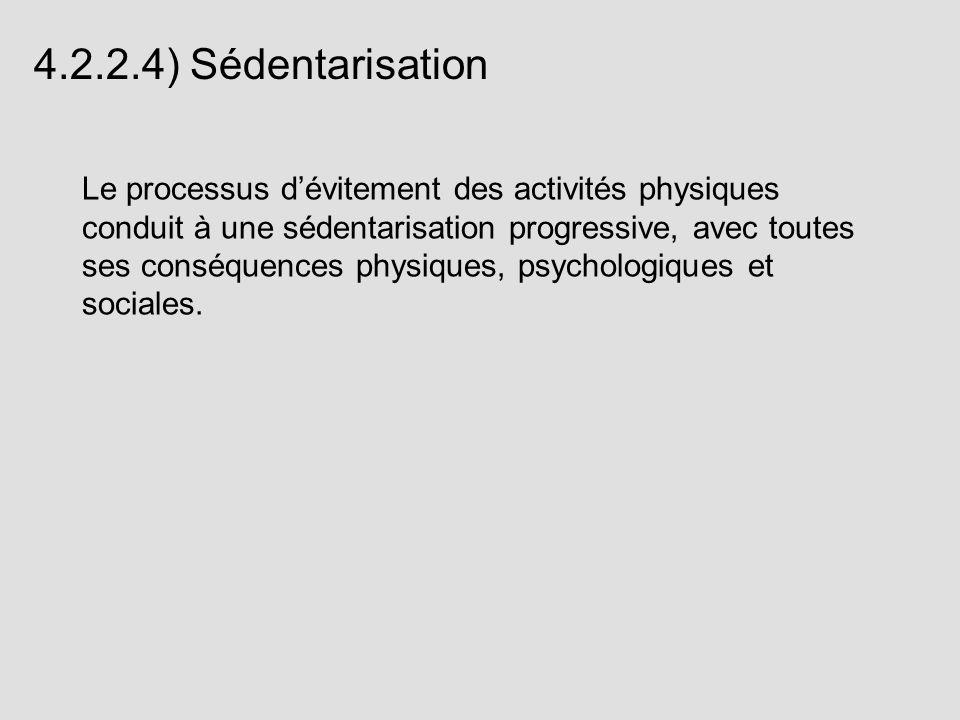 4.2.2.4) Sédentarisation Le processus dévitement des activités physiques conduit à une sédentarisation progressive, avec toutes ses conséquences physi