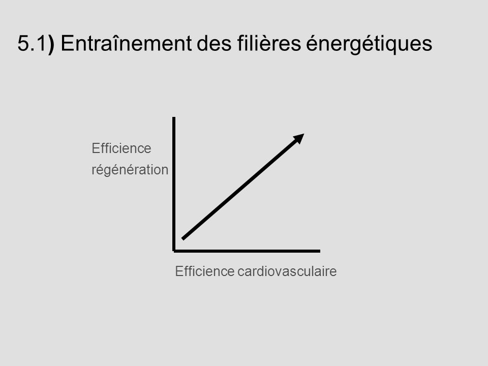 Efficience cardiovasculaire Efficience régénération 5.1) Entraînement des filières énergétiques