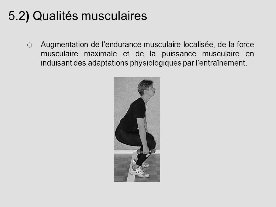 5.2) Qualités musculaires Augmentation de lendurance musculaire localisée, de la force musculaire maximale et de la puissance musculaire en induisant