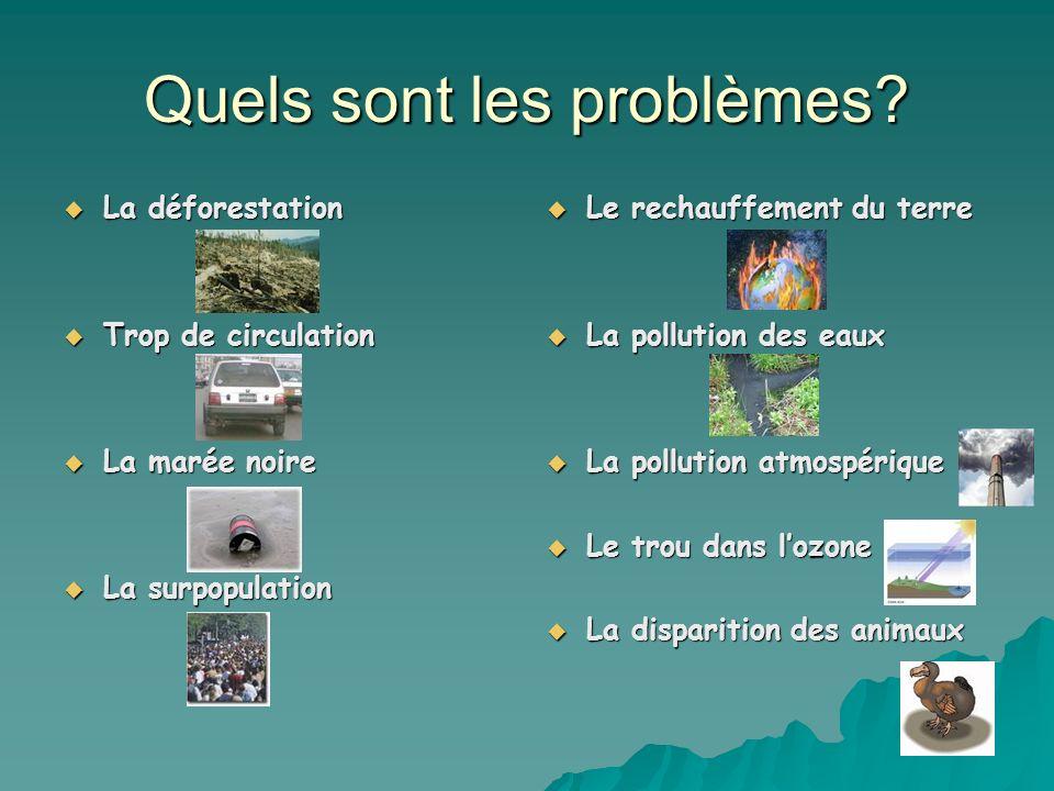 Quels sont les problèmes? La déforestation La déforestation Trop de circulation Trop de circulation La marée noire La marée noire La surpopulation La