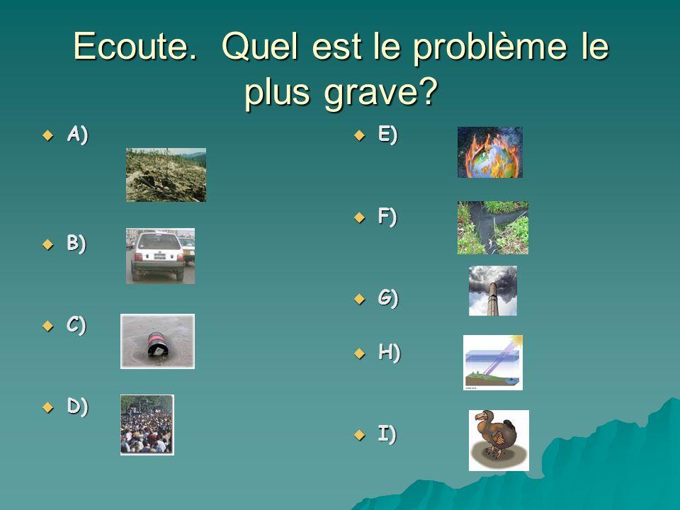 Ecoute. Quel est le problème le plus grave? A) A) B) B) C) C) D) D) E) E) F) F) G) G) H) H) I) I)
