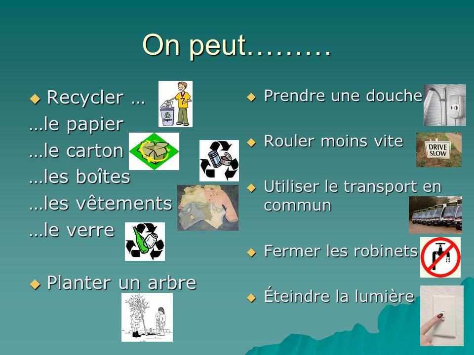 On peut……… Recycler … Recycler … …le papier …le carton …les boîtes …les vêtements …le verre Planter un arbre Planter un arbre Prendre une douche Prend