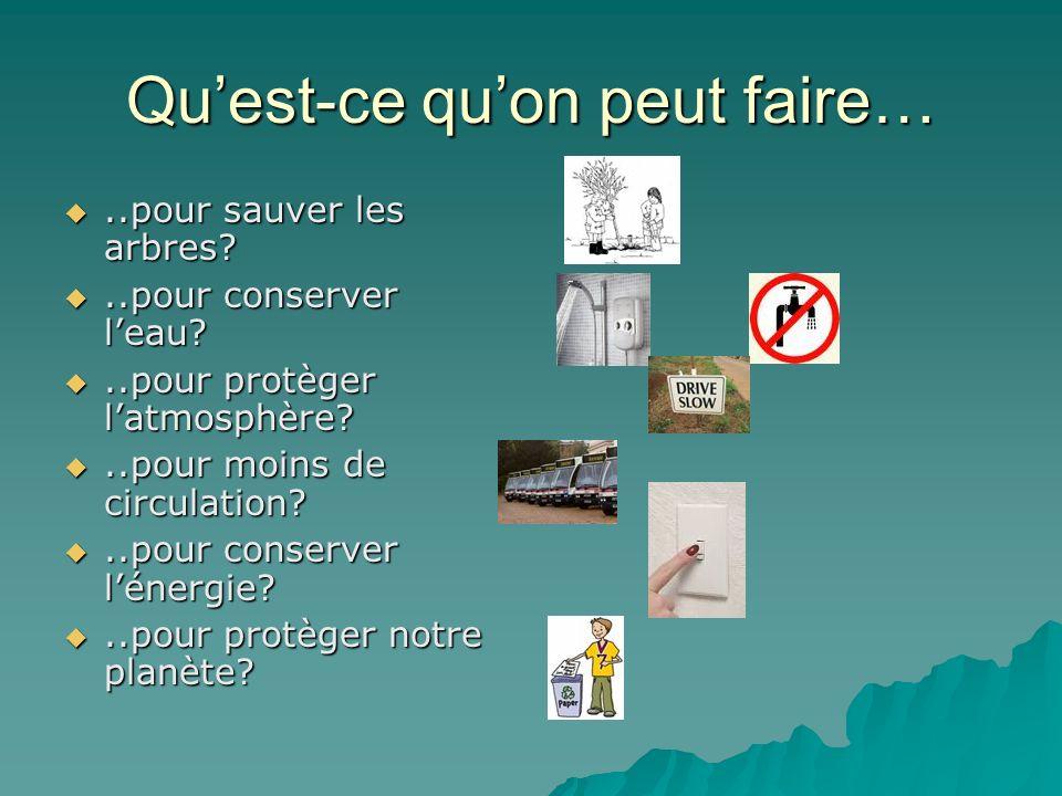 Quest-ce quon peut faire…..pour sauver les arbres?..pour sauver les arbres?..pour conserver leau?..pour conserver leau?..pour protèger latmosphère?..p