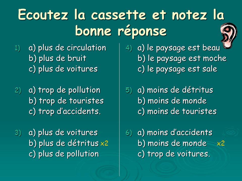Ecoutez la cassette et notez la bonne réponse 1) a) plus de circulation b) plus de bruit c) plus de voitures 2) a) trop de pollution b) trop de touristes c) trop daccidents.