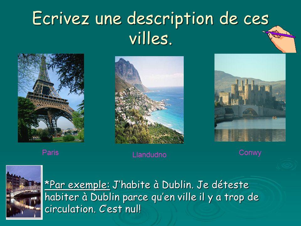 Ecrivez une description de ces villes. Paris Llandudno Conwy *Par exemple: Jhabite à Dublin. Je déteste habiter à Dublin parce quen ville il y a trop